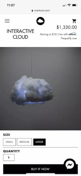 Here is the original cloud light and do you see that price tag? $1300!!! That's crazy and way out of my price range!