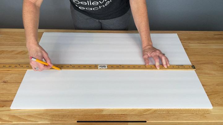 2. I measured each section off on my foam core board.