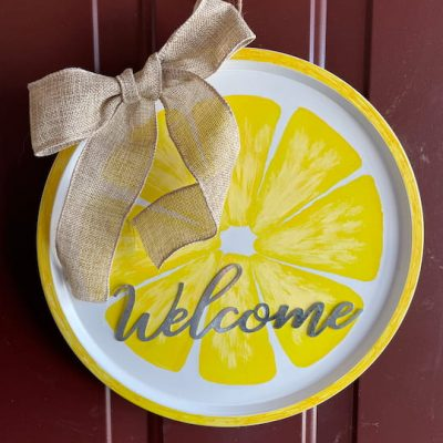 Do you want to make an easy lemon wreath? I made this easy and beautiful wreath with items from Dollar Tree for under $5!