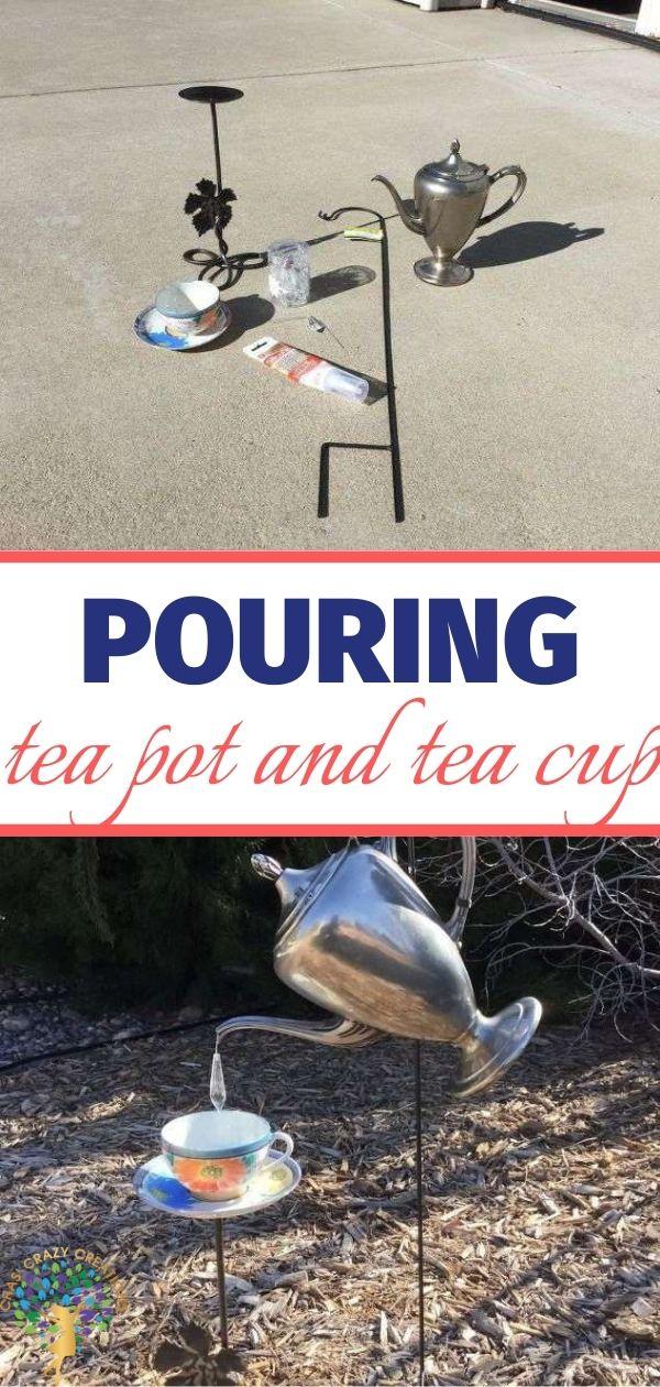 pouring tea cup & tea pot in garden