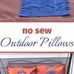 I'm so excited to share with you my repurposed shower curtain & jeans into no sew outdoor pillows with a journal and pen pockets! This easy upcycled project is perfect for any age and makes a great gift idea!