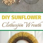 A little Rit Dye, some clothes pins, a wreath form, and a few finishing touches and you have a sunflower wreath. Its' inexpensive and easy to make your own easy clothespin sunflower wreath. #clothespinsunflowerwreath #chascrazycreations #diysunflowerwreath