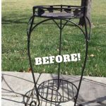 See how I repurposed a plant stand and patio furniture. The plant stand was turned into a side table. You can use these steps to update your own plant stand or patio furniture.