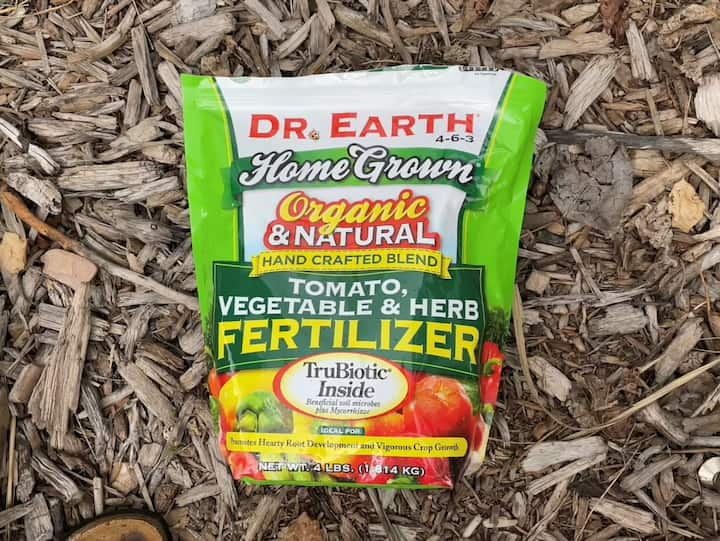 I've been fertilizing my garden with Dr. Earth Organic and Natural Vegetable Fertilizer every couple of weeks. I sprinkle 1/2 cup across the bale and water as usual. I love that I don't have to mix anything.