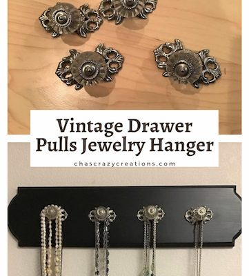 Do you love vintage drawer pulls? I found some glass pulls at a flea market and created a lovely jewelry hanger for my home.