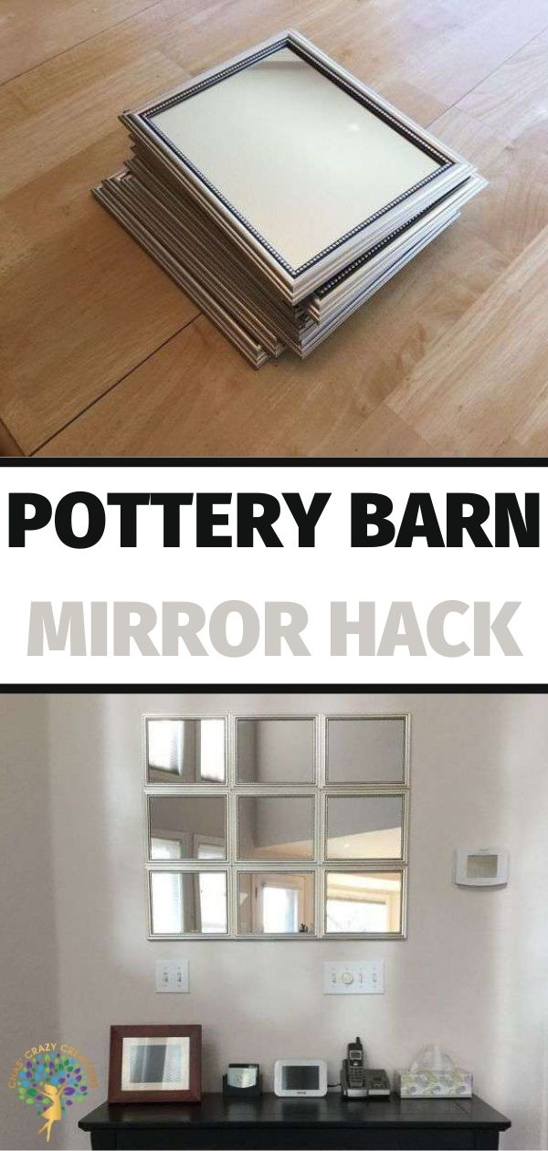 Have you seen these mirrors? I love them and want one but holy cow! $299 and up for these and that is just not in my budget. I created a Pottery Barn mirror hack using Dollar Tree mirrors.