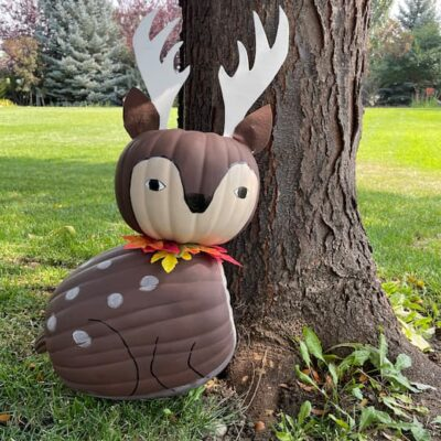 Do you want an easy pumpkin craft idea? Turn foam pumpkins into a cute deer that you can keep up year-round with just a few simple changes.