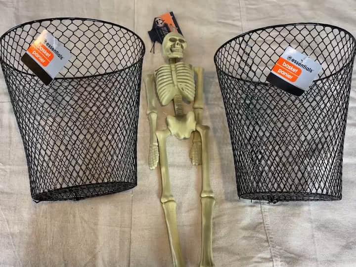 Dollar Tree Halloween Crafts - DIY Skeleton in a Cage Supplies Needed