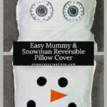 I created an inexpensive cute mummy on one side and a snowman on the other side of a pillow cover, and it packs away easily too!