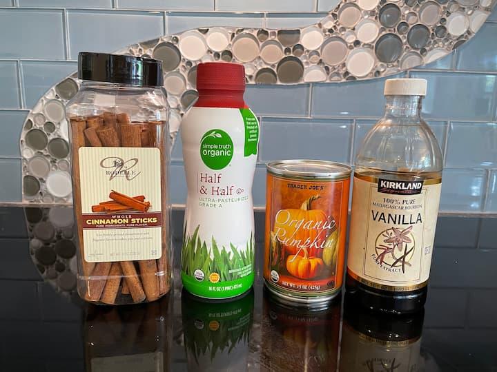 Ingredients for Sugar Free Pumpkin Spice Creamer