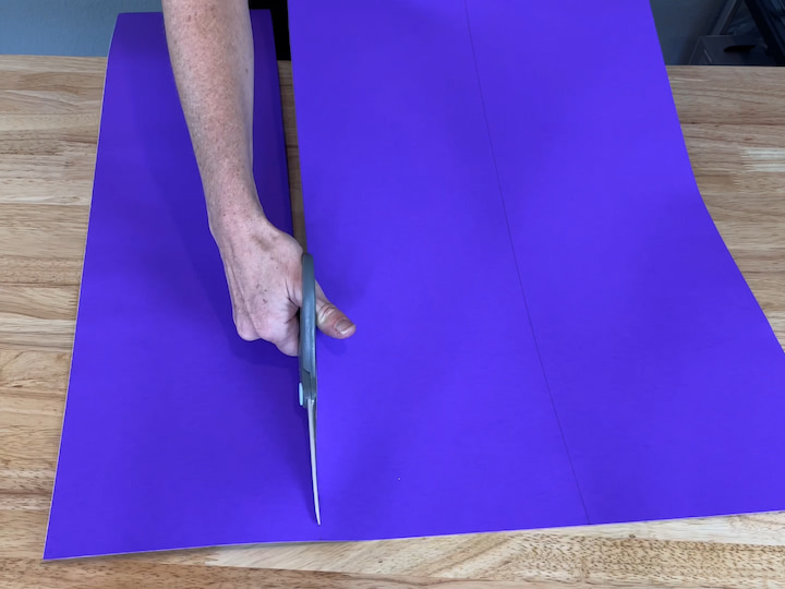I cut both lines on the posterboard making 3 strips total.
